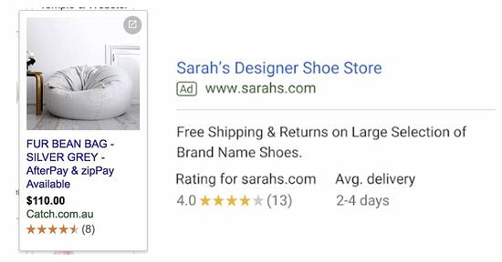 Google Shopping is powered by two platforms, Google Merchant Centre and AdWords. Central to this is a product feed that contains key information about a product, such as images, price and availability to product identifiers. A retailer's product feed lives in the merchant centre while bids and budget are managed in AdWords. Setting up a product feed can be quite complex and while you can do it yourself, its best to have this set up professionally by experts (like us ), as the success of a campaign is dependent on feed quality. Customer Reviews Another benefit of running Google Shopping is the ability to tap into Google's free customer review or product review program. The customer review program lets you collect feedback from users who've purchased from your site. Once you have over 150, seller ratings can appear with your ad on search and Google Shopping. Seller ratings are identified by the yellow / orange stars that appear with a search ad or shopping ad as can be seen below.
