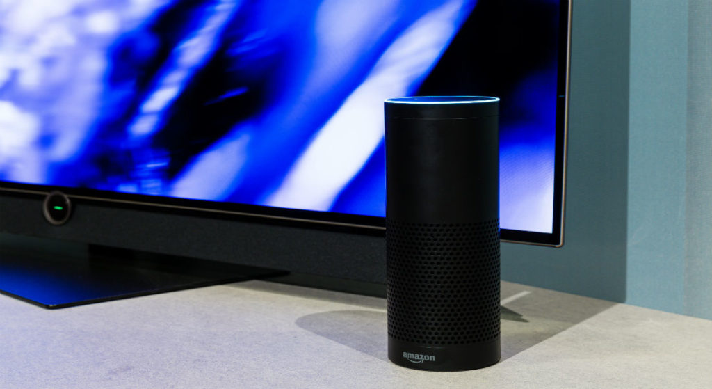Amazon's Alexa with a screen in the background